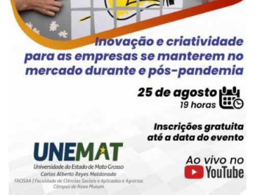 Unemat realiza palestra sobre inovação e criatividade no mercado durante e pós-pandemia